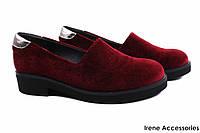 Туфли комфорт EuroModa женские бархат цвет бордо (каблук, Турция)