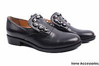 Туфли Lottini женские натуральная кожа, цвет черный (каблук, комфорт, Турция)