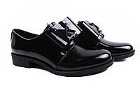 Туфли женские стильные Liliya натуральная лаковая кожа, цвет черный (комфорт, каблук, Украина)