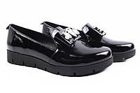 Туфли женские Liliya натуральная лаковая кожа, цвет черный (комфорт, платформа, Украина)