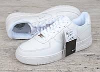 Кроссовки мужские кожаные белые Nike Air force 1 low прошитые Вьетнам, Белый, 44 , фото 1