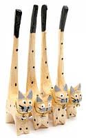 "Кошки деревянные кольцедержатели ""дерево"" (н-р 4 шт)(15,5х5,5х2 см) цена за набор"