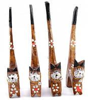 Кошки деревянные кольцедержатели коричневые (н-р 4 шт)(15,5х5,5х2 см) цена за набор