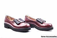 Туфли женские кожаные Guero (стильные, бордо, Турция)
