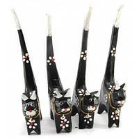 Кошки деревянные кольцедержатели черные (н-р 4 шт)(15,5х5,5х2 см) цена за набор