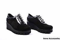 Туфли женские комбинированные Phany (комфортные, стильные, танкетка, Турция)