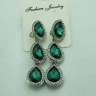616 Серьги на выпускной вечер или свадьбу. Красивые зелёные серьги из трёх кристаллов.