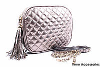 Стильная женская сумка Dolce&Gabbana цвет бронза, натуральная кожа