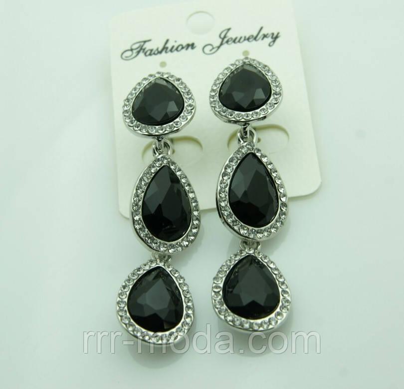 617 Серьги на выпускной вечер или свадьбу. Красивые черные серьги три кристалла.
