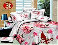 Полуторное постельное белье с 3Д рисунком из полисатина Букеты роз