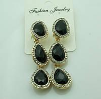 618 Черные серьги на выпускной вечер или свадьбу. Красивые черные серьги три кристалла.
