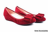 Туфли женские Belorddini с бантом замш (комфортные, платформа, бордо)