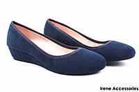 Туфли женские Belorddini натуральный замш (комфортные, платформа, синие)