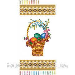 Схема на ткани для вышивания бисером Рушник Пасхальная корзина