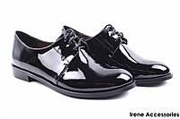 Туфли женские SummerGirl эко-лак (комфорт, удобная колодка, каблук, черные)