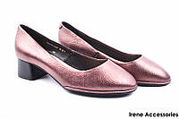 Туфли женские Belorddini натуральная кожа (изысканные, удобная колодка, каблук, бронза), фото 1