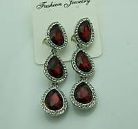620 Серьги с красными камнями на выпускной вечер или свадьбу. Красивые красные серьги.