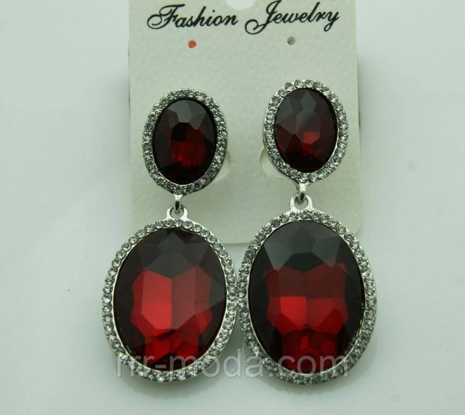 621 Массивные серьги с красными камнями на выпускной вечер или свадьбу. Красивые красные серьги.