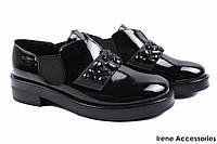 Элегантные туфли женские Vensi эко-лак (комфортные, каблук, черный)