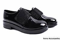 Элегантные женские туфли Vensi эко-лак (комфортные, каблук, черный, липучки)