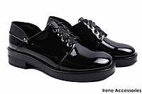 Элегантные туфли женские Vensi эко-лак (комфортные, каблук, черный, шнуровка)