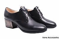 Элегантные туфли женские Maria Moro натуральная кожа (комфортные, каблук, черный, шнуровка)