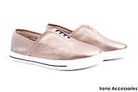 Стильные туфли женские Li Fexpert эко-кожа (комфортные, платформа, бронза)