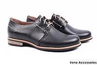 Стильные туфли женские Wasak натуральная кожа (комфортные, каблук, черный, шнуровка, Польша)