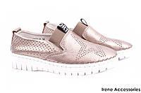 Туфли женские Li Fexpert комфорт эко-кожа (комфортные, платформа, бронза, лето)