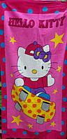 Пляжное полотенце Hello Kitty розовое  велюр-махра Турция