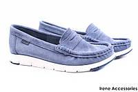 Мокасины женские Nessi натуральный замш цвет голубой (туфли, комфорт, Польша)