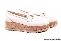 Туфли EuroModa женские натуральная кожа, цвет беж (платформа, Турция)