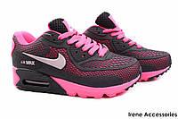Кроссовки женские Nike текстиль цвет черный, розовый (слипоны, мокасины, платформа, реплика)