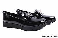 Туфли женские Liliya натуральная лаковая кожа, цвет черный (комфорт, каблук, Украина)