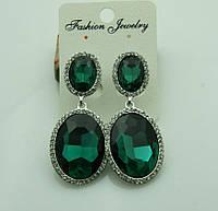 625 Крупные серьги с зелёными камнями на выпускной вечер или свадьбу. Красивые зелёные серьги.