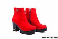 Ботильоны женские замш Guero (ботинки, стильные, каблук, евромех, антискользящая подошва, Турция)