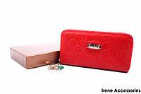Элегантный женский кошелек Gucci из натуральной кожи, цвет красный на молнии