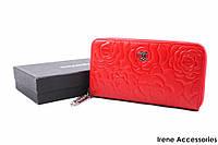 Элегантный женский кошелек Chanel из натуральной кожи, цвет красный на молнии