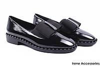 Туфли женские Angelo Vani с бантом лаковая кожа (комфортные, каблук, черные)