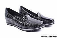 Стильные туфли женские SummerGirl эко-лак (комфорт, удобная колодка, платформа, черные)