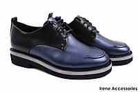 Элегантные туфли женские Bona Rica эко-кожа (комфортные, каблук, черный + синий)