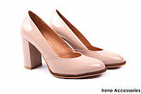 Туфли женские Badura лаковая кожа беж (стильные, каблук, удобная колодка)