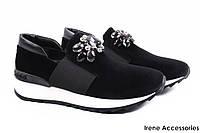 Стильные туфли женские Tucino комфорт бархат (комфортные, платформа, черные, Турция)