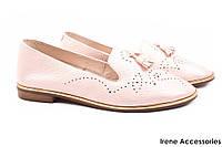 Туфли женские Tucino натуральная кожа, цвет розовый (слипоны, мокасины, комфорт, каблук, Турция)