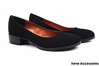 Туфли женские комфорт Savio натуральный замш цвет черный (стильные, каблук, Украина)