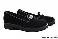 Стильные туфли женские Donna Ricco комфорт бархат цвет черный (комфортные, каблук, Турция)