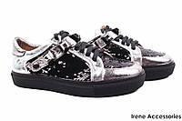 Стильные туфли женские Lottini натуральная кожа цвет серебро + черный (платформа, комфорт, Турция)