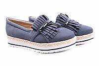 Туфли женские Vices комфорт, эко-замш, цвет синий (платформа, Польша)