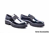 Туфли женские лаковые Mida (комфортные,цвет золотисто-синий по 41р)
