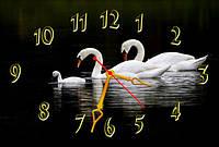 Настенные часы картина Лебеди (30х45 см), часы для дома, часы картина